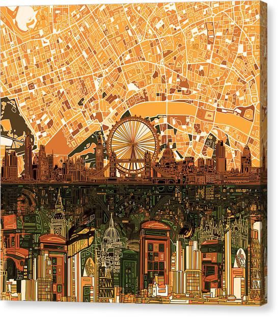 London Eye Canvas Print - London Skyline Abstract 7 by Bekim Art