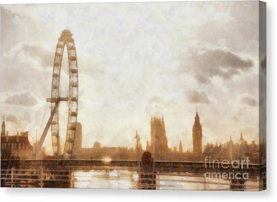 London Eye Canvas Print - London Skyline At Dusk 01 by Pixel  Chimp