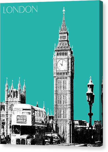 Modern Architecture Canvas Print - London Skyline Big Ben - Teal by DB Artist