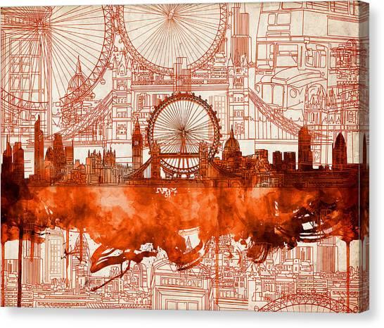 London Eye Canvas Print - London Skyline Old Vintage 2 by Bekim Art