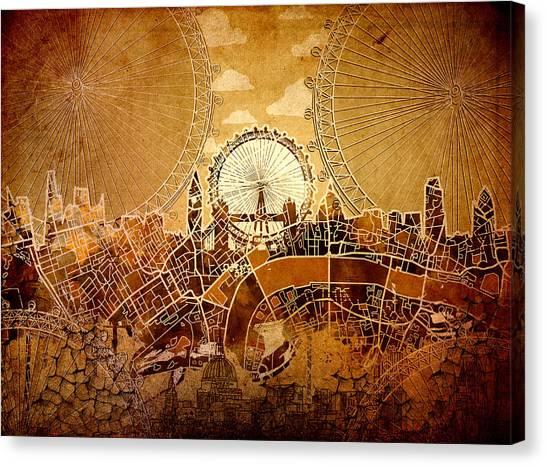 London Eye Canvas Print - London Skyline Old Vintage  by Bekim Art