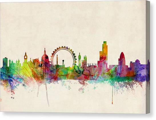 England Canvas Print - London Skyline Panoramic by Michael Tompsett