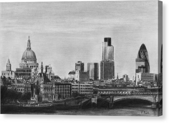 London Skyline Pencil Drawing Canvas Print
