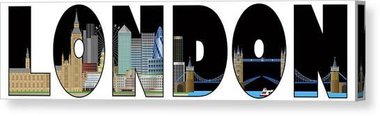 London Skyline Text Outline Color Illustration Canvas Print