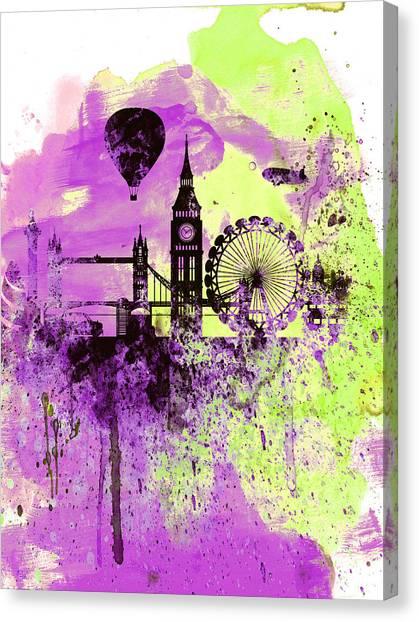 Big Ben Canvas Print - London Skyline Watercolor 1 by Naxart Studio