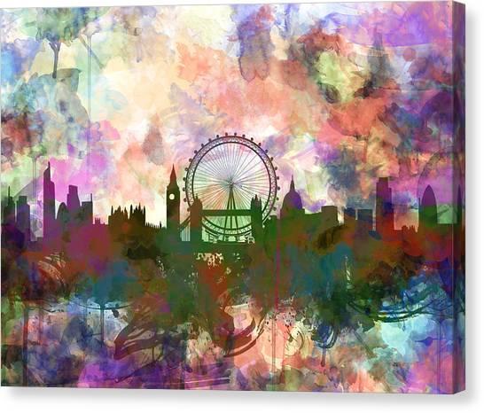 London Eye Canvas Print - London Skyline Watercolor by Bekim Art