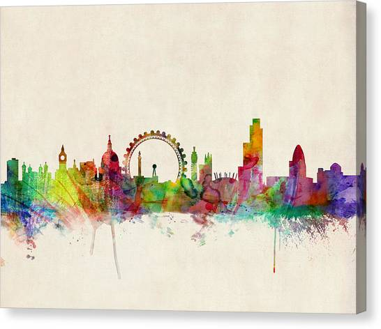 United Kingdom Canvas Print - London Skyline Watercolour by Michael Tompsett
