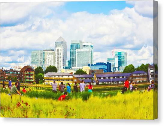 Canaries Canvas Print - London Skyscrapers by Tom Gowanlock