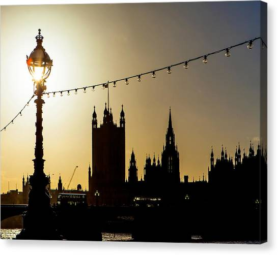 London Canvas Print - London South Bank Silhouette by Susan Schmitz