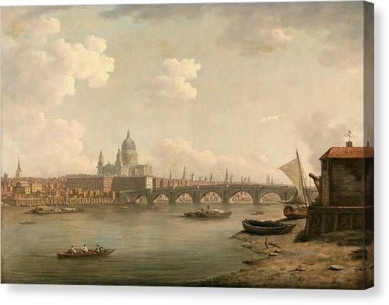 Marlow Canvas Print - London, St. Pauls And Blackfriars Bridge Signed by Litz Collection