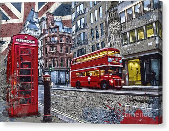 Creation Canvas Print - London Street Creation by Delphimages Photo Creations