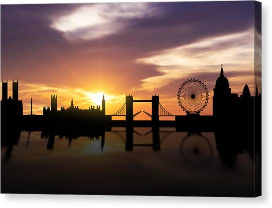 Palace Of Westminster Canvas Print - London Sunset Skyline  by Aged Pixel