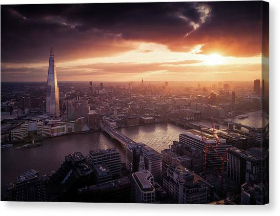 London Sunset View Canvas Print by Dennis Fischer Photography