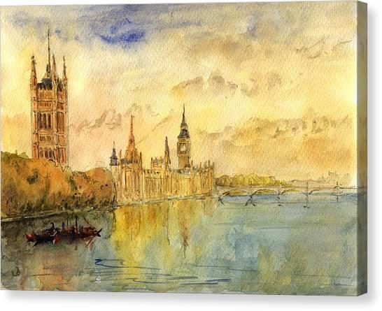 Parliament Canvas Print - London Thames River by Juan  Bosco