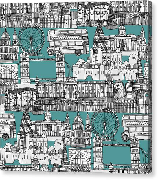 London Canvas Print - London Toile Blue by Sharon Turner