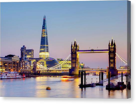 London, Tower Bridge, The Shard And Canvas Print by Alan Copson
