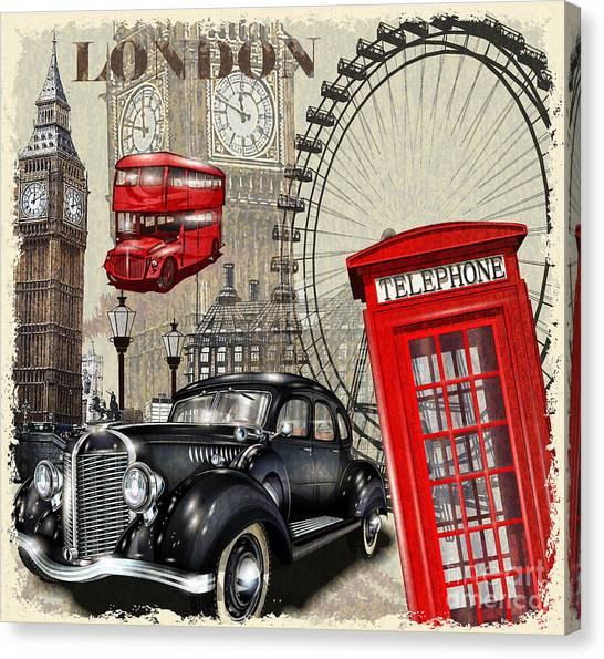 Uk Canvas Print - London Vintage Poster by Axpop