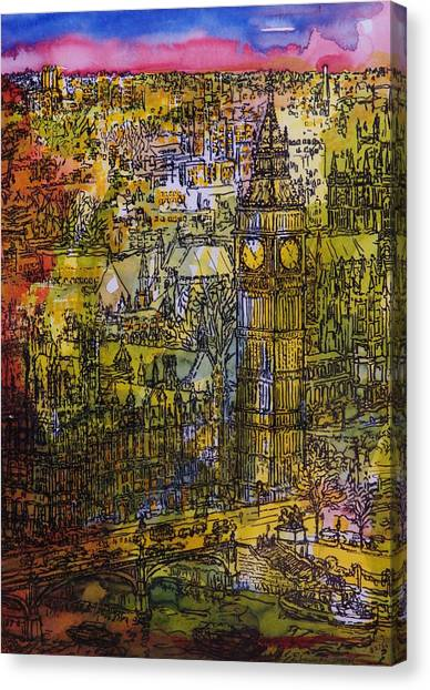 Palace Of Westminster Canvas Print - London, Westminster Pen & Ink With Wc On Paper by Brenda Brin Booker
