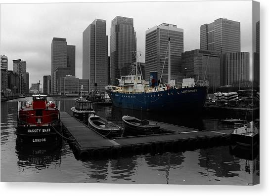 Pontoon Canvas Print - London's Docklands by Martin Newman