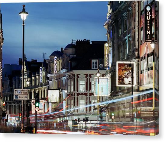 Londons Shaftesbury Avenue At Dusk Canvas Print by Shomos Uddin