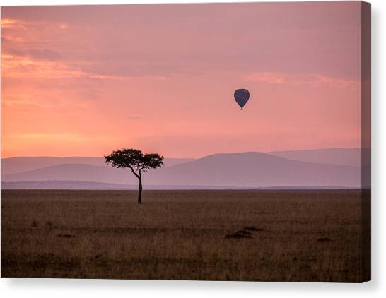 Lone Balloon Over The Masai Mara Canvas Print