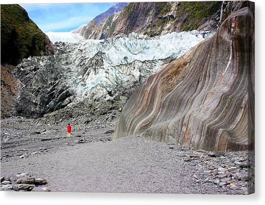 Canvas Print featuring the photograph Lone Figure At Franz Joseph Glacier by David Rich