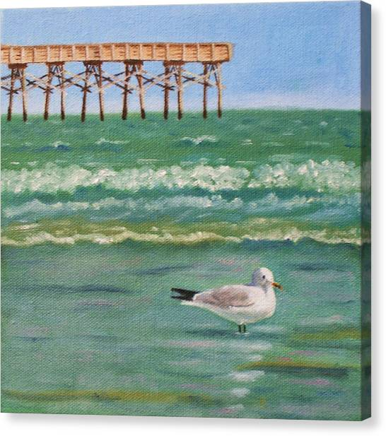 Lone Gull A-piers Canvas Print