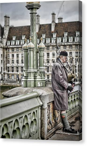 Bagpipes Canvas Print - Lone Piper by Heather Applegate