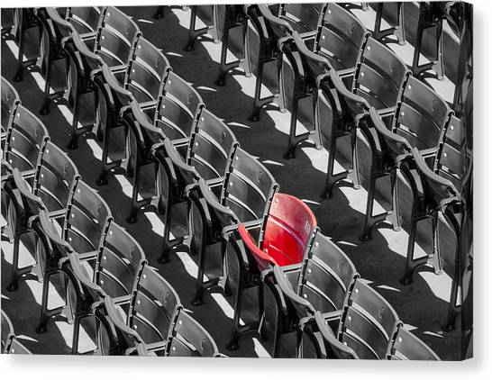 Lone Red Number 21 Fenway Park Bw Canvas Print