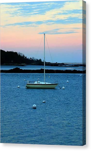Lone Sailboat At York Maine Canvas Print