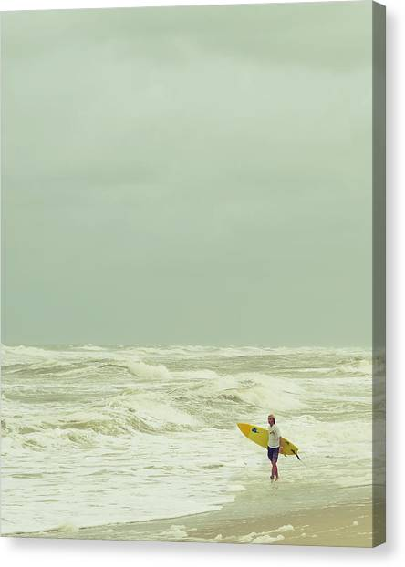 Surfboard Canvas Print - Lone Surfer by Laura Fasulo