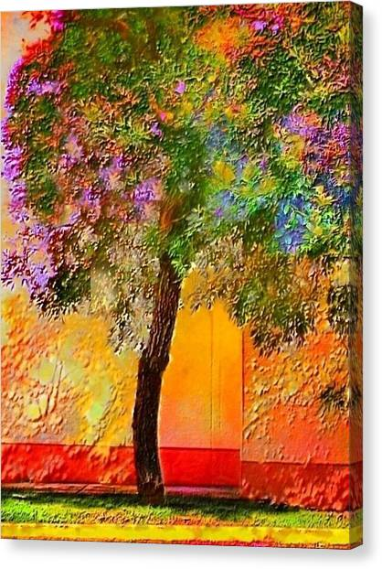 Lone Tree Against Orange Wall - Vertical Canvas Print