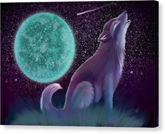 Wolf Moon Canvas Print - Lone Wolf Howling 2 by Nick Gustafson