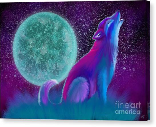 Wolf Moon Canvas Print - Lone Wolf Howling by Nick Gustafson