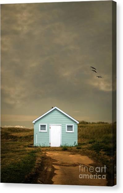 Beach Cabin Canvas Print - Lonely Beach Shack by Edward Fielding