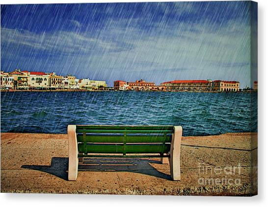 Lonely Bench In Rain Canvas Print