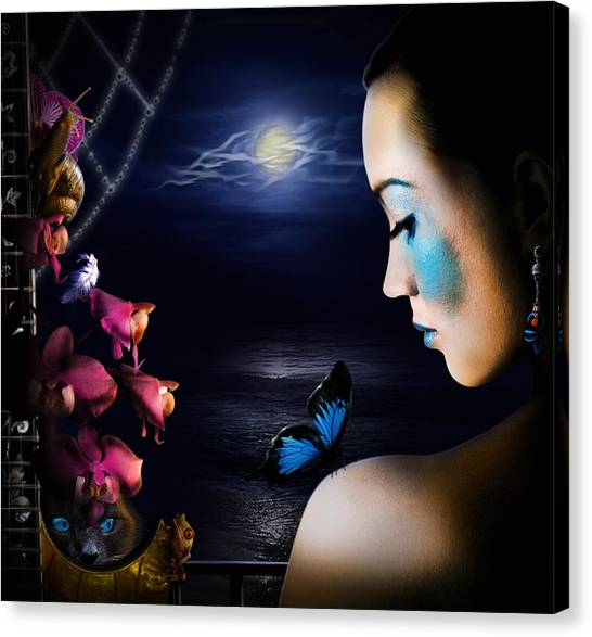 Lonely Blue Princess And The Villains Canvas Print