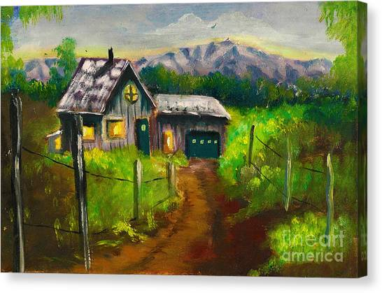 Lonely Cabin Canvas Print by Donna Chaasadah