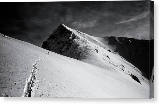 Mountain Climbing Canvas Print - Lonely Climber by Marcel Rebro