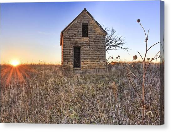 Prairie Sunsets Canvas Print - Lonely Homestead by Jill Van Doren Rolo