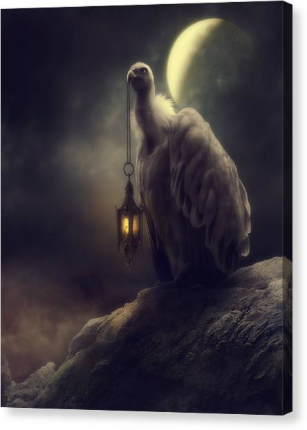 Vultures Canvas Print - Lonely In The Moonlight by Cindy Grundsten
