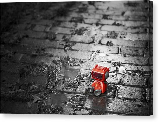 Figurine Canvas Print - Lonely Little Robot by Scott Norris