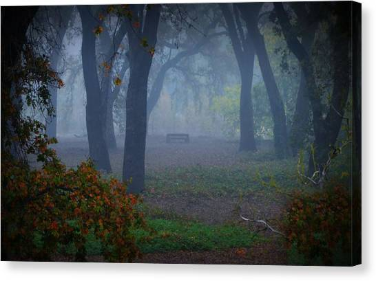 Lonely Park Bench In The Fog Canvas Print