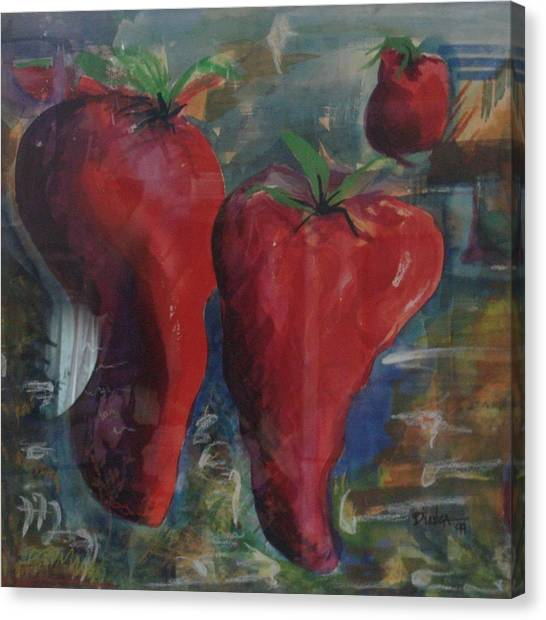 Lonely Peppers Canvas Print by Bianca Romani