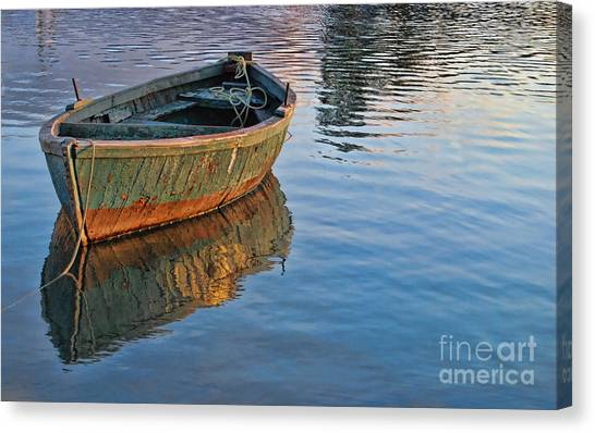 Lonely River Boat  Canvas Print