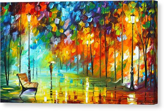 Park Benches Canvas Print - Lonely Stroll 3 by Leonid Afremov
