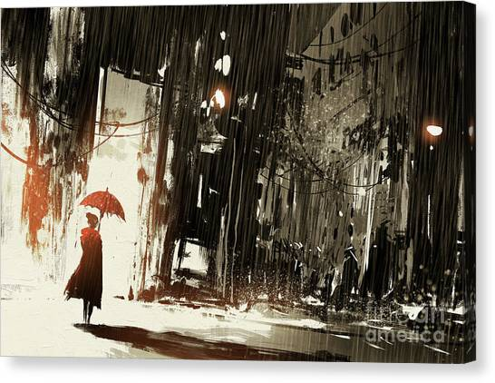 Urban Art Canvas Print - Lonely Woman With Umbrella In Abandoned by Tithi Luadthong