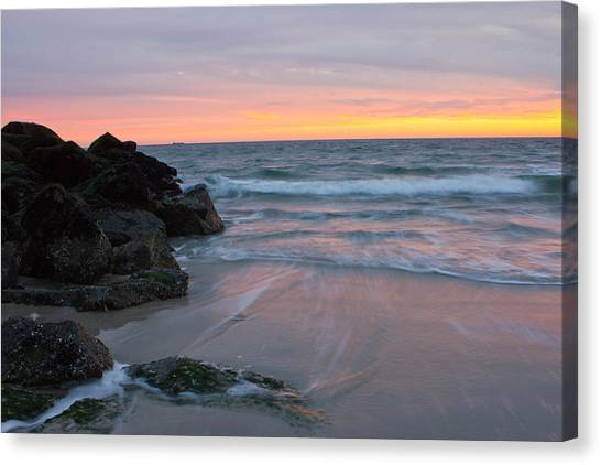 Long Beach By The Rocks Canvas Print