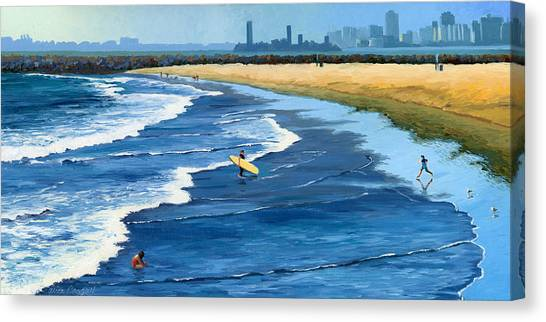 Surfboard Canvas Print - Long Beach California by Alice Leggett
