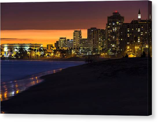 Long Beach Comes Alive At Dusk By Denise Dube Canvas Print